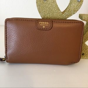 Fossil Sydney Zip Phone Wallet Camel Brown Leather